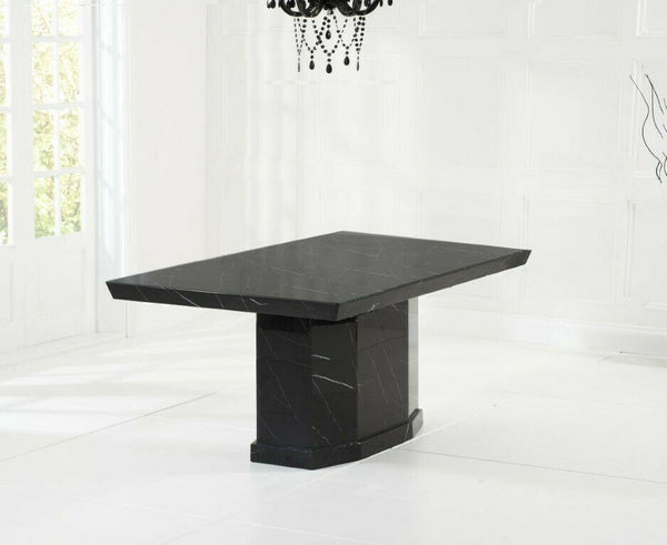 Casa Black Pedestal 160cm Marble Dining Table - AR Furnishings - Specialists In Bringing Luxury Into Your Home.