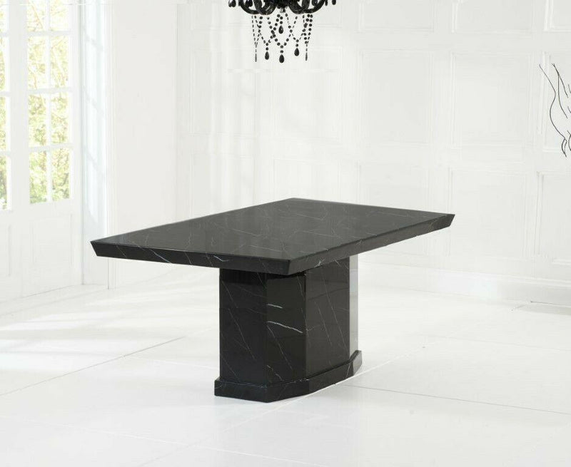 Casa Black Pedestal 160cm Marble Dining Table - AR Furnishings