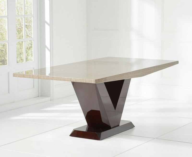 Valencio Brown V Pedestal 200cm Marble Dining Table - AR Furnishings - Specialists In Bringing Luxury Into Your Home.