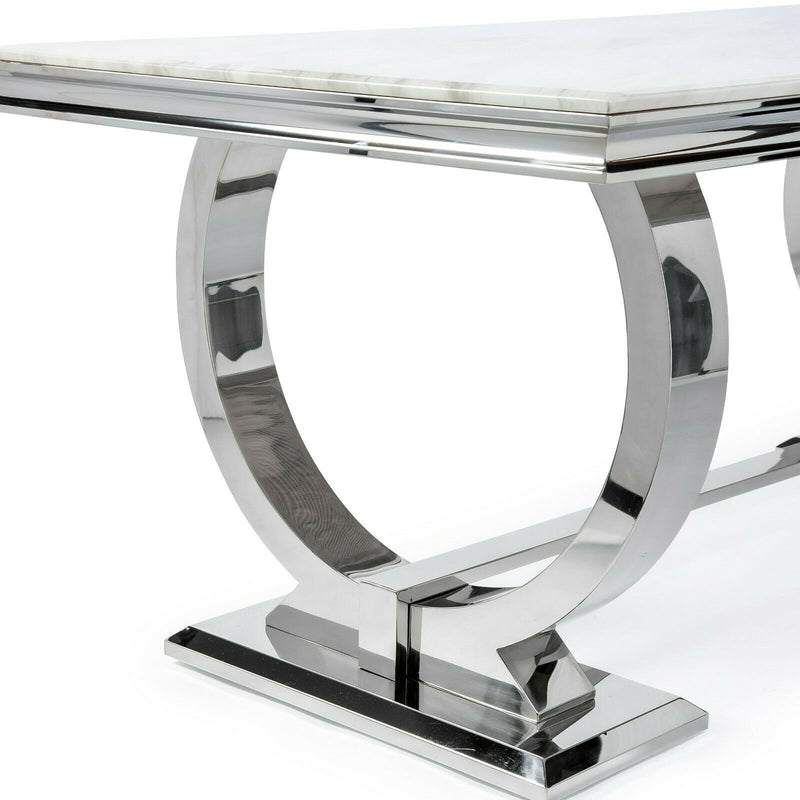 Arianna 180cm White Marble Dining Table - AR Furnishings - Specialists In Bringing Luxury Into Your Home.