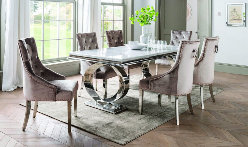 Selene Bone White Marble & Chrome 200cm Dining Table Only - AR Furnishings - Specialists In Bringing Luxury Into Your Home.