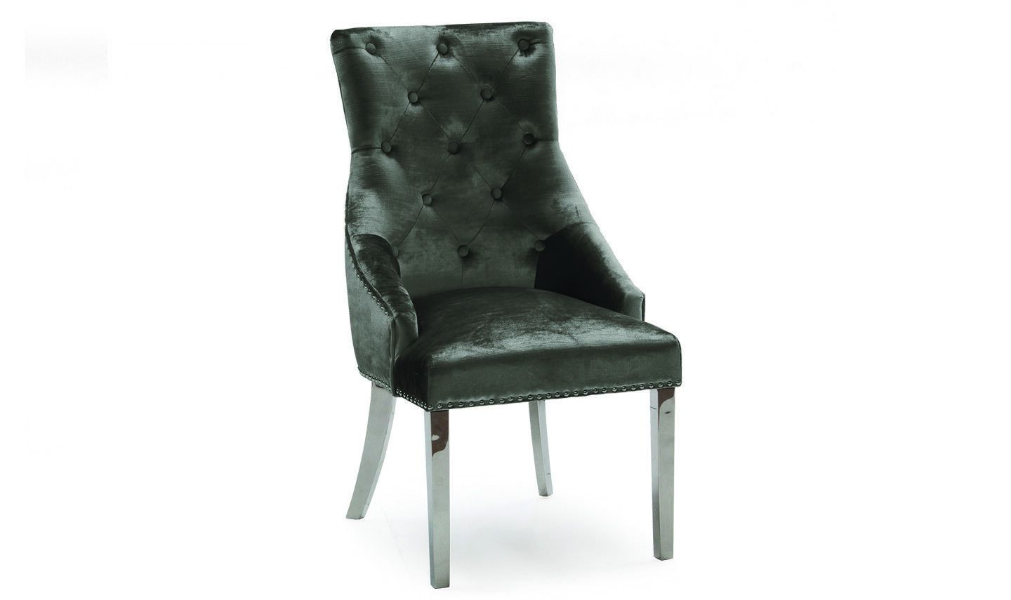 Belle Charcoal Knockerback Soft Velvet  Dining Chair With Ring - Chrome Legs - ImagineX Furniture & Interiors