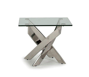 Kalmar Chrome Tempered Glass Side/End Table - ImagineX Furniture & Interiors