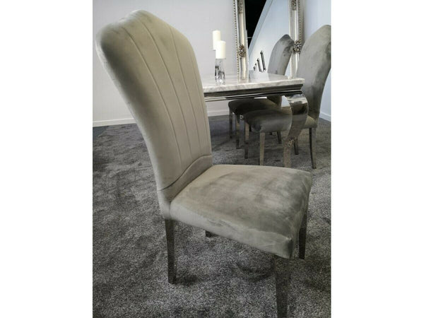 Navada Grey Marble Dining Table & Lucy Chairs