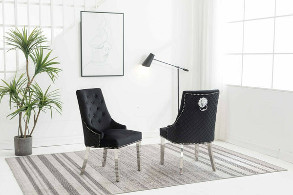 Chelsea Black Quilted Velvet Chrome Leg Lion Knockerback Dining Chair - AR Furnishings - Specialists In Bringing Luxury Into Your Home.