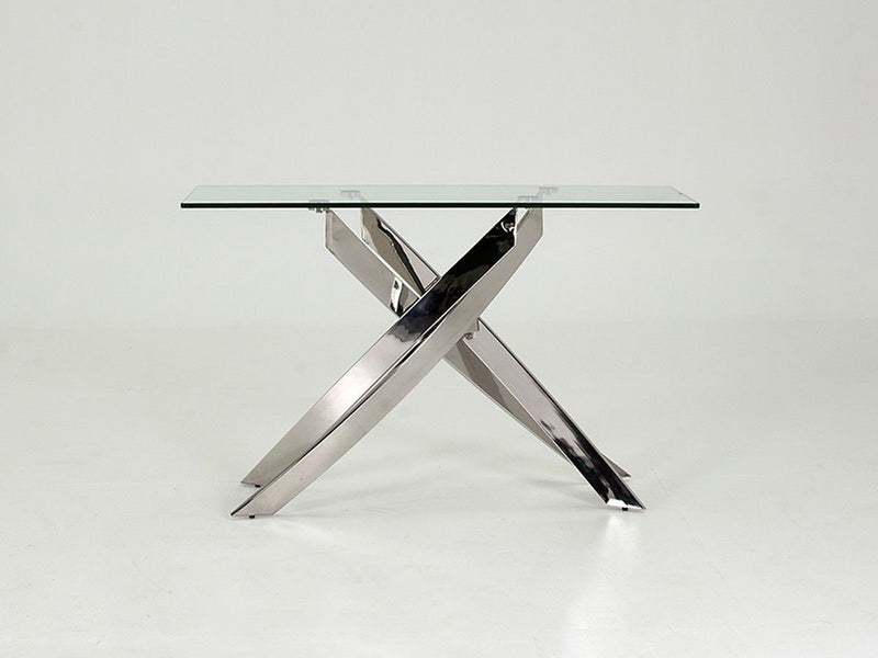 Kalmar Chrome Tempered Glass Console Table - AR Furnishings - Specialists In Bringing Luxury Into Your Home.