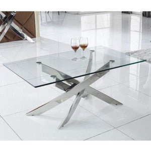 Kalmar Chrome Tempered Glass Coffee Table - ImagineX Furniture & Interiors