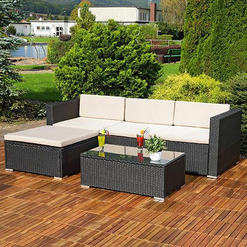 Rattan Corner Sofa Set Garden Furniture Lounger + Table - 3 Colours