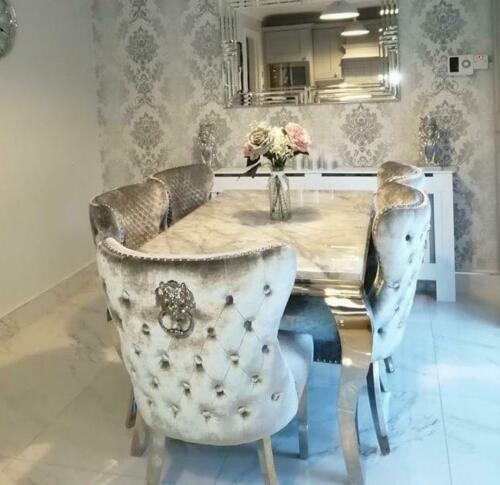 Louis Grey Marble 150CM Dining Table + Valente Light Grey Lion Chairs, Bench Option
