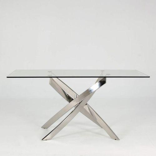 Kalmar 160cm Rectangular Tempered Glass Dining Table - AR Furnishings - Specialists In Bringing Luxury Into Your Home.