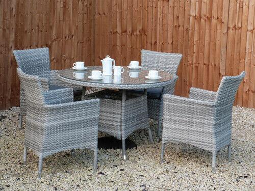 Round Outdoor Rattan Glass Dining Table + 4 Rattan Dining Chairs - 3 Colours