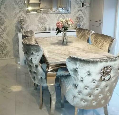 Louis Grey Marble 180CM Dining Table + Valente Light Grey Lion Chairs, Bench Option