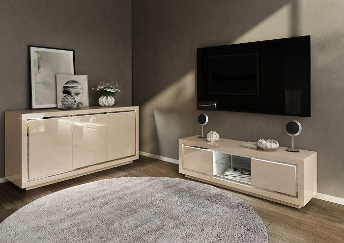 Sardinia 120cm 2 Door Gery High Gloss Sideboard With LED - AR Furnishings - Specialists In Bringing Luxury Into Your Home.
