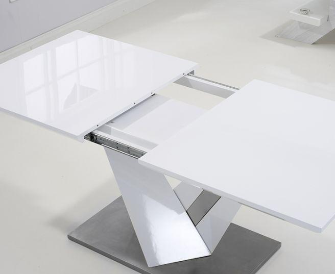 Haven 160cm Extending White High Gloss Dining Table