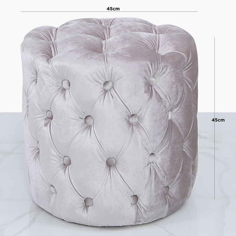 Malia Soft Pink Tufted Round Stool - AR Furnishings - Specialists In Bringing Luxury Into Your Home.