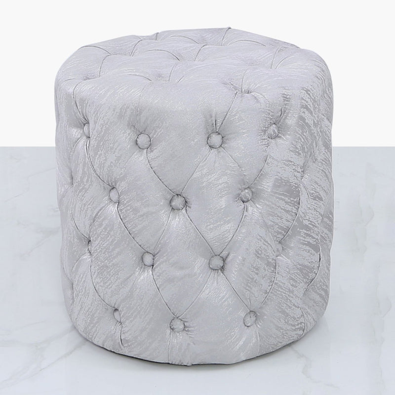Malia Silver Tufted Round Stool - AR Furnishings - Specialists In Bringing Luxury Into Your Home.
