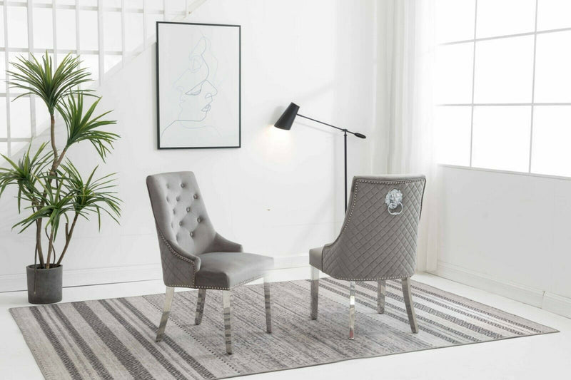 Chelsea Silver Quilted Velvet Chrome Leg Lion Knockerback Dining Chair - AR Furnishings - Specialists In Bringing Luxury Into Your Home.
