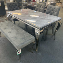Load image into Gallery viewer, Louis 160cm Grey Marble Dining Table With Lion Knocker Plush Velvet Chairs & Bench