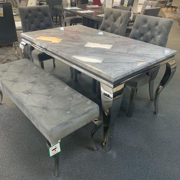 Louis 150cm Grey Marble Dining Table with Knightsbridge Knocker Plush Velvet Chairs & Bench - AR Furnishings - Specialists In Bringing Luxury Into Your Home.