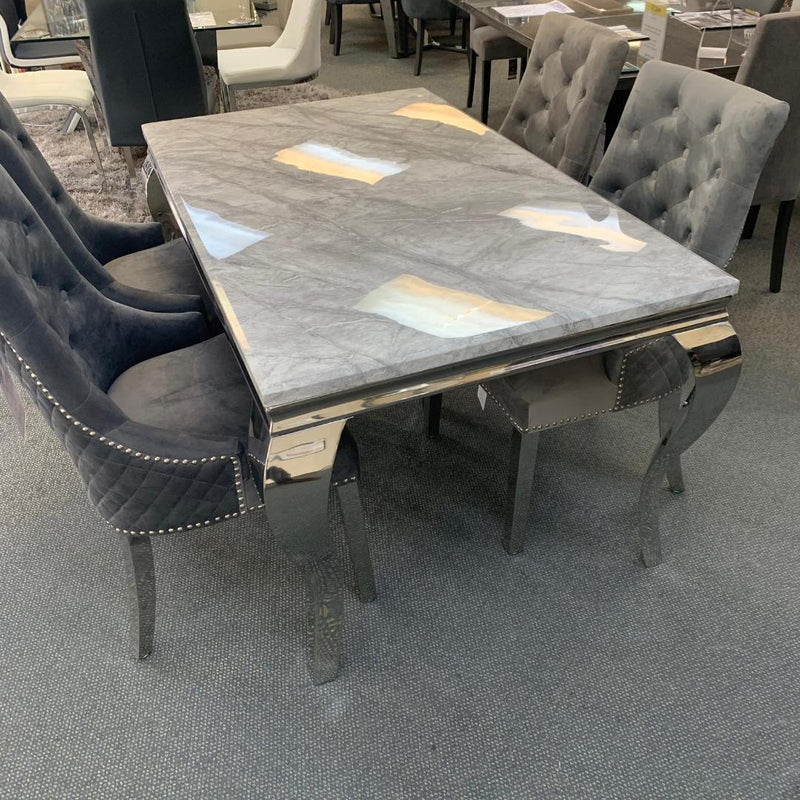 Louis 160cm Grey Marble Dining Table With Lion Knocker Plush Velvet Chairs & Bench - AR Furnishings - Specialists In Bringing Luxury Into Your Home.