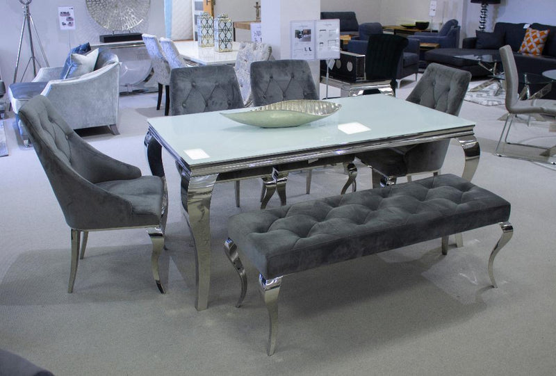 Louis Silver Velvet 170cm Bench Only - AR Furnishings - Specialists In Bringing Luxury Into Your Home.