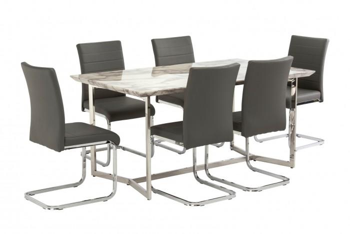 Tivoli White Marble 160cm Dining Table + 6 Loreto Chairs - AR Furnishings - Specialists In Bringing Luxury Into Your Home.