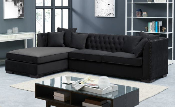 Black Chesterfield Corner Suite-Left - AR Furnishings - Specialists In Bringing Luxury Into Your Home.