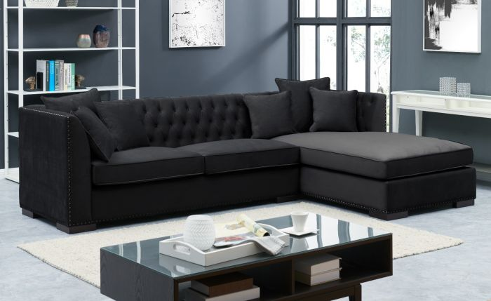 Black Chesterfield Corner Suite-Right - AR Furnishings - Specialists In Bringing Luxury Into Your Home.