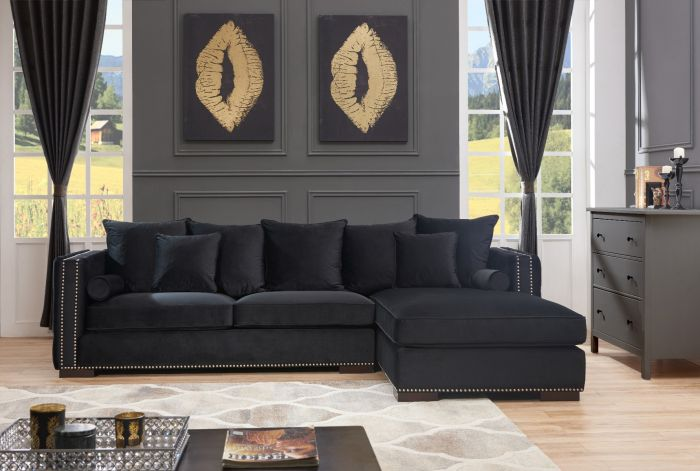 Black Moscow Corner Suite-Right - AR Furnishings - Specialists In Bringing Luxury Into Your Home.