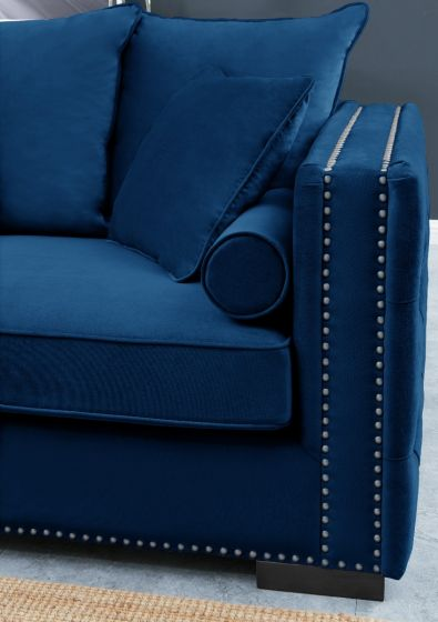 Royal Blue Moscow Corner Suite-Left - AR Furnishings - Specialists In Bringing Luxury Into Your Home.
