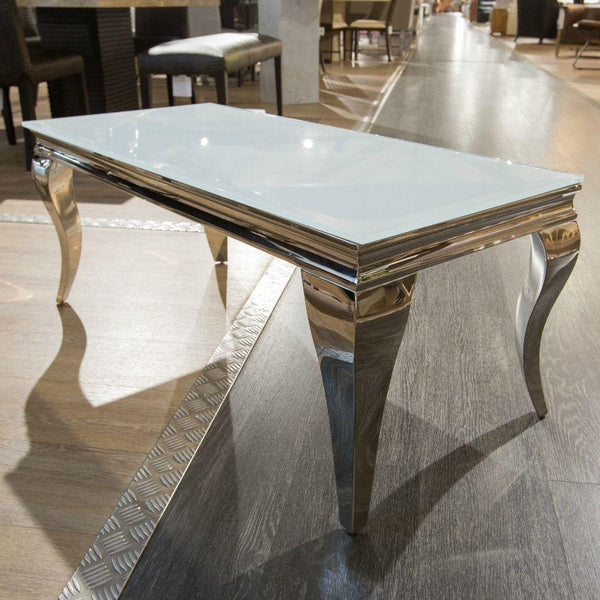 Louis 110cm White Tempered Glass Coffee Table - AR Furnishings - Specialists In Bringing Luxury Into Your Home.