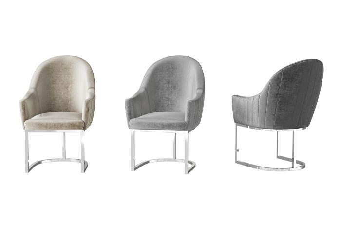 Viola Silver Grey Velvet Dining Chair - AR Furnishings - Specialists In Bringing Luxury Into Your Home.