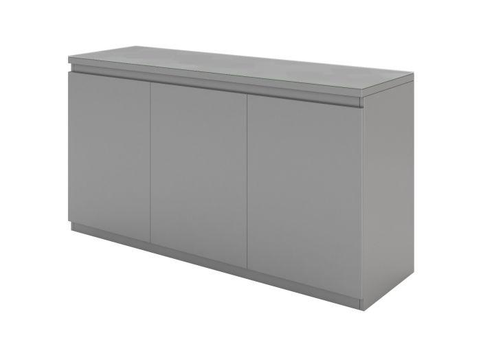Vivaldi 155cm 3 Door Matt Grey High Gloss Sideboard - AR Furnishings - Specialists In Bringing Luxury Into Your Home.