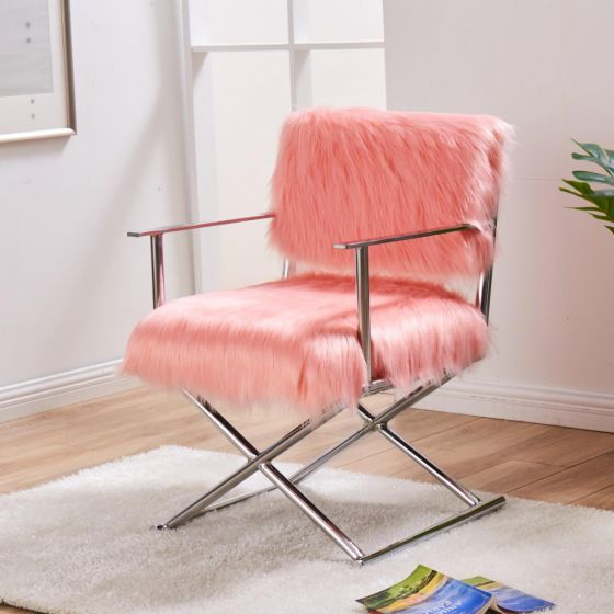 Faux Sheepskin Directors Chair - AR Furnishings - Specialists In Bringing Luxury Into Your Home.