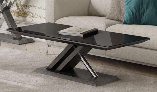 Xavi Black Glass and Walnut Coffee Table - AR Furnishings - Specialists In Bringing Luxury Into Your Home.