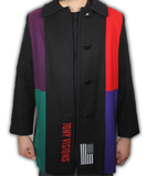 Color block wool trench