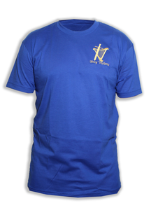 Men's Blue Embroidered Logo Tee