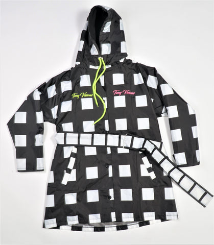 Checkered Nylon Trench Coat