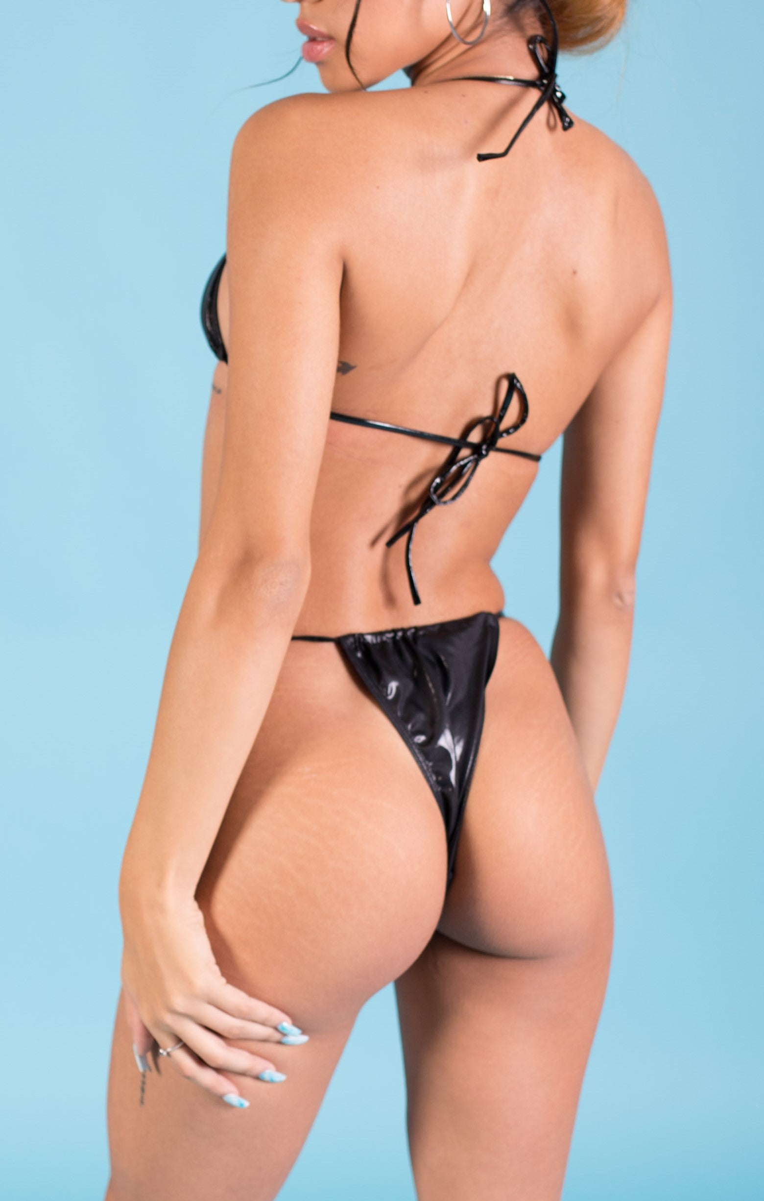 Black Latex Bikini Two Piece