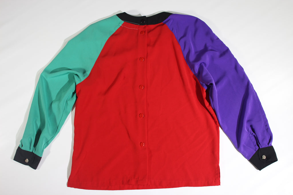 Color Block Womans Long Sleeve Shirt