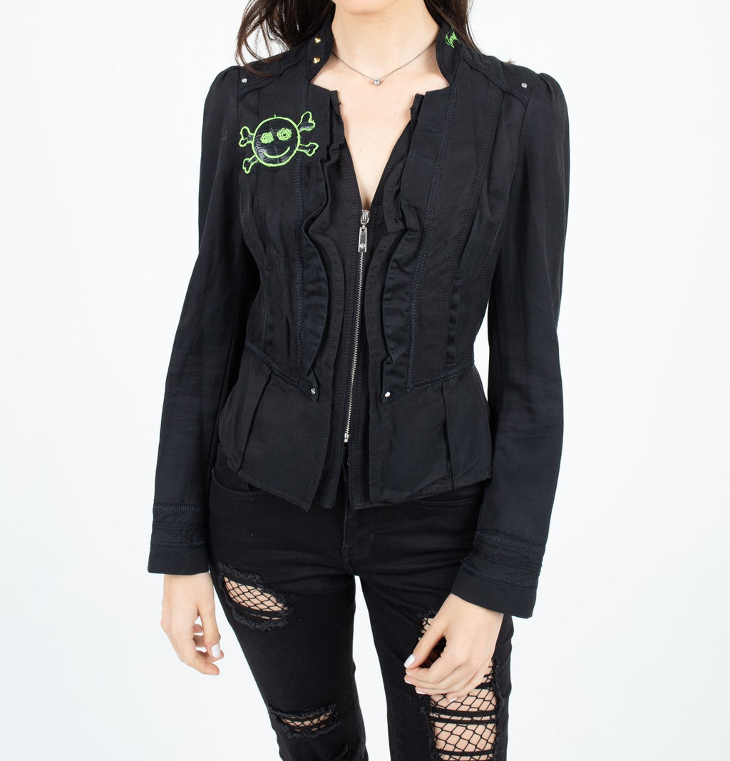 Black and Green Light Zip-Up Jacket