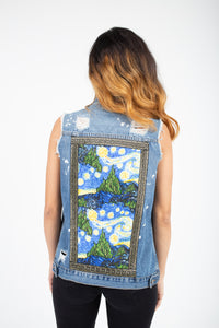 Starry Night Denim Cut Sleeved Jacket
