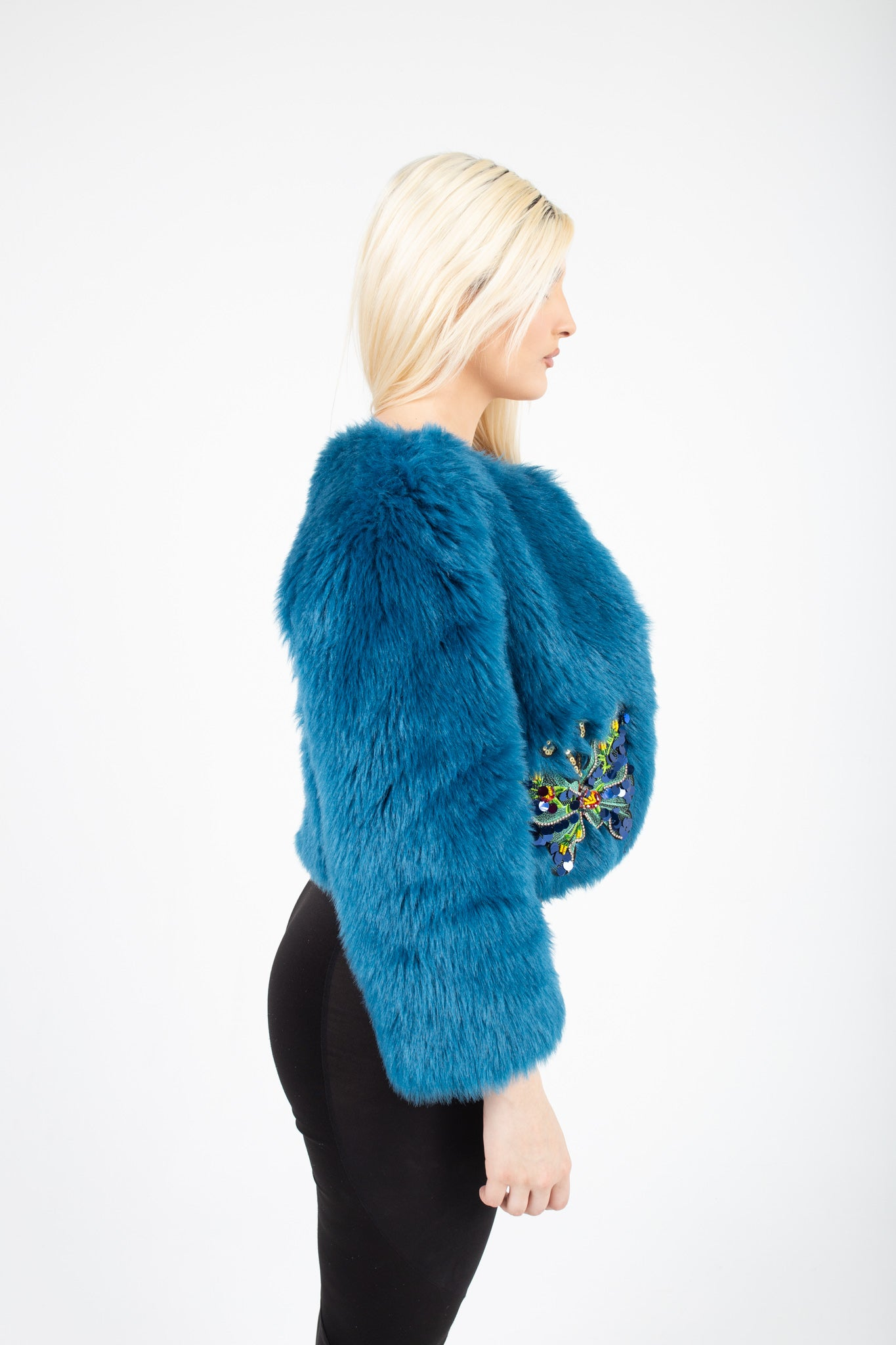 Blue Luxury Fur Coat