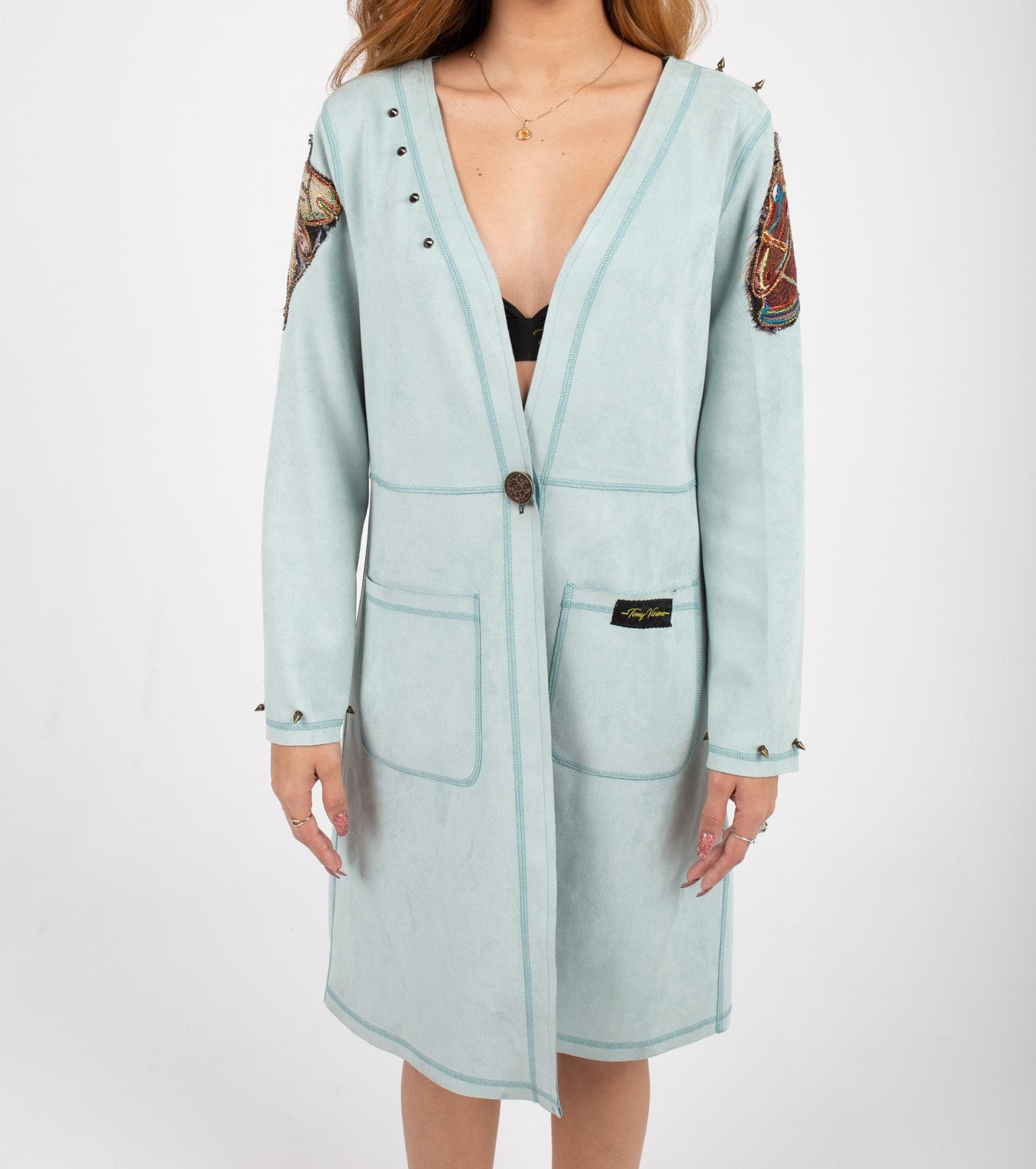 Pastel Blue Light Custom Cut Trench