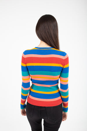 Women's Striped Knit Long Sleeve