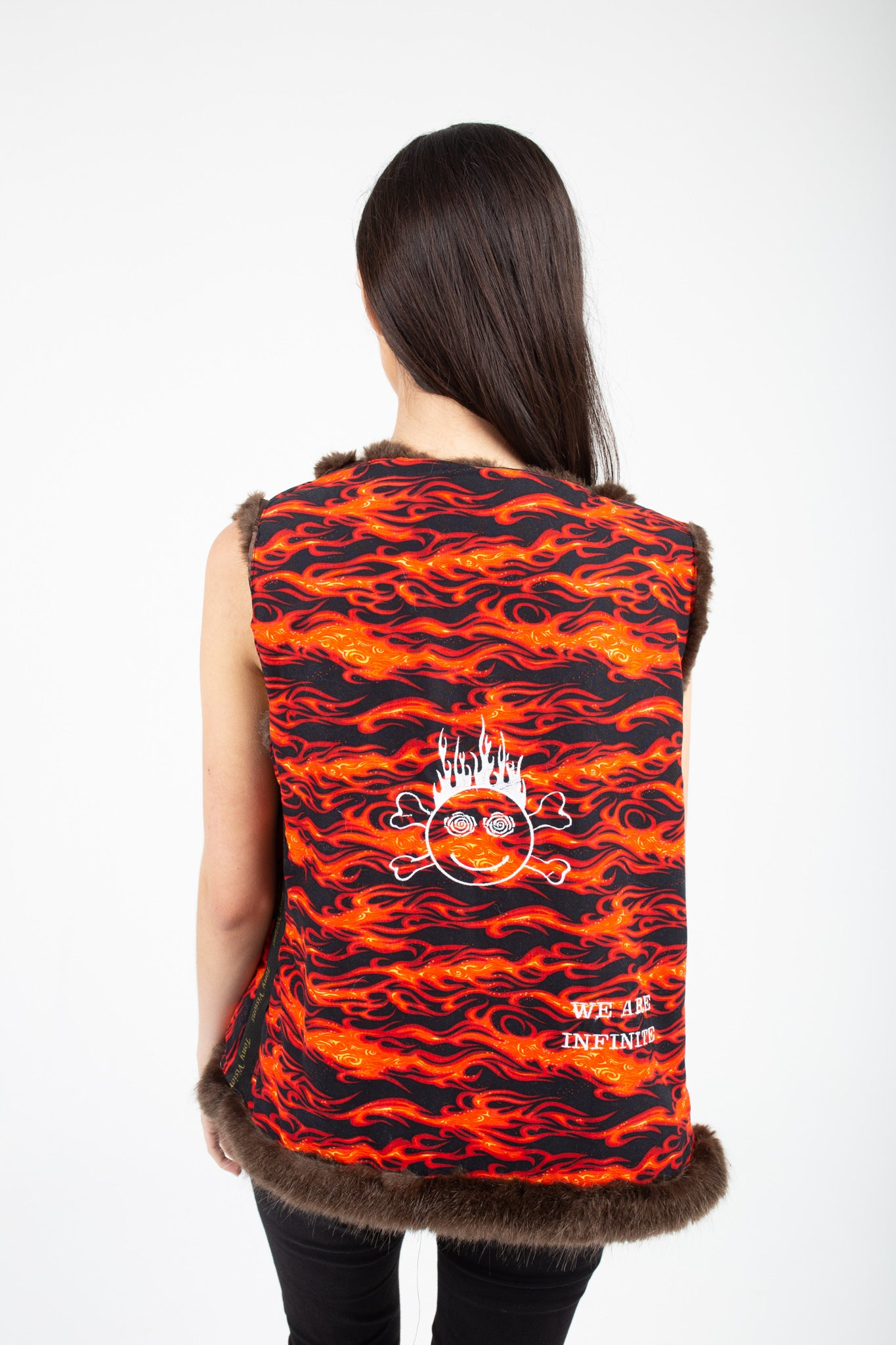 Flames Reversible Faux Fur