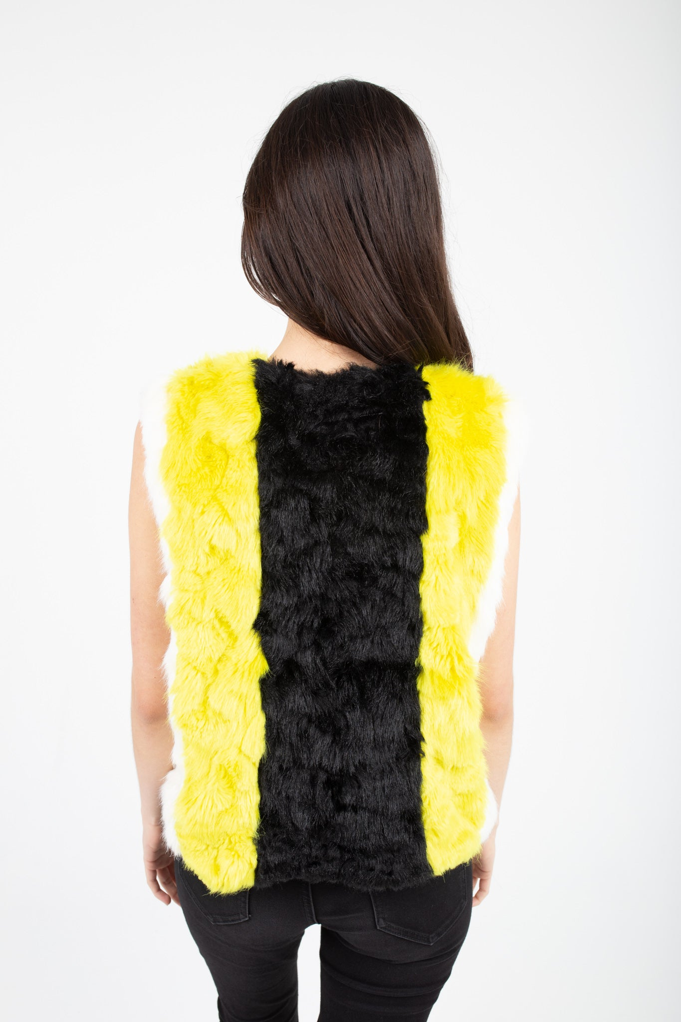 Striped Faux Fur Woman's Vest