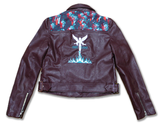 Blue Flamed Angels Biker Jacket