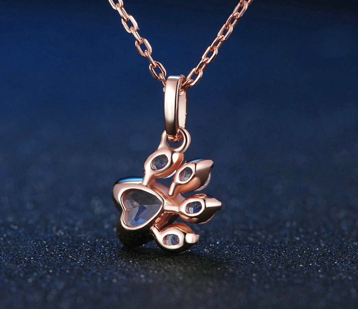 Rose Gold & Rose Quartz Paw Necklace - Earth Ark Boutique