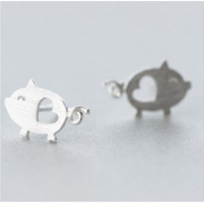 Silver Pig Earrings - Earth Ark Boutique